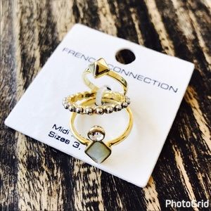 French Connection 3 Piece Midi Ring Set